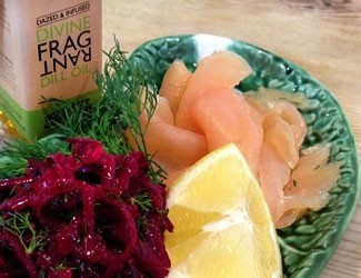 Smoked salmon, beetroot & dill oil salad