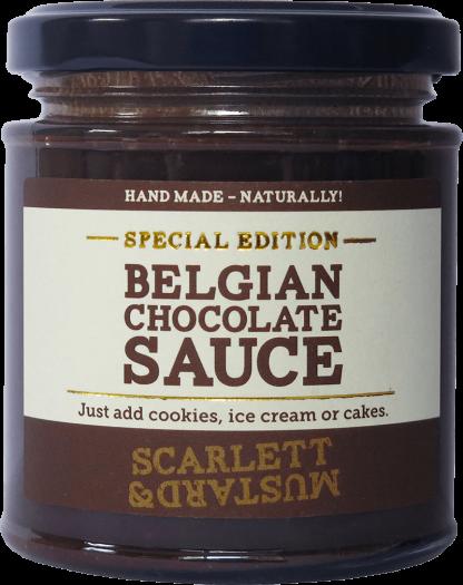 A 200g jar of Belgian Chocolate Sauce