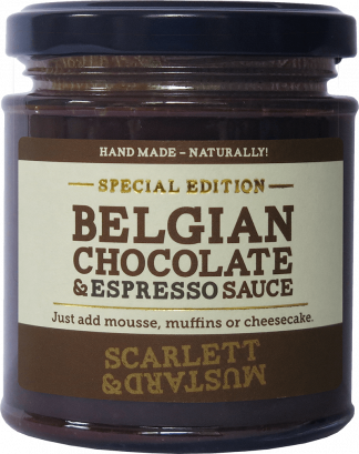 A 200g jar of Belgian Chocolate & Espresso Sauce