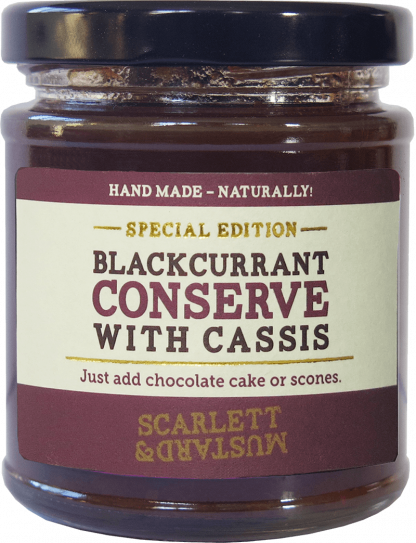 A 200g jar of Blackcurrant Conserve with Cassis