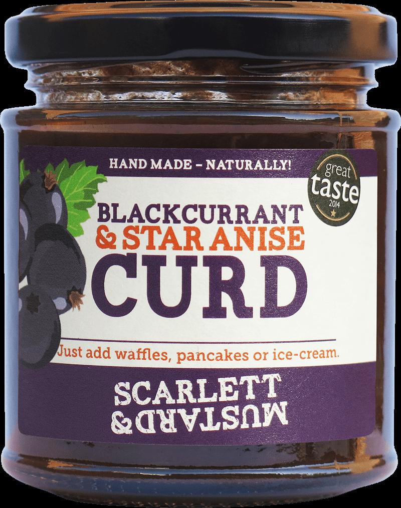 A 200g jar of Blackcurrant & Star Anise Curd