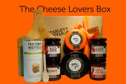 Cheese Lovers Box with cheeseboard, spoon, jams and cheeses