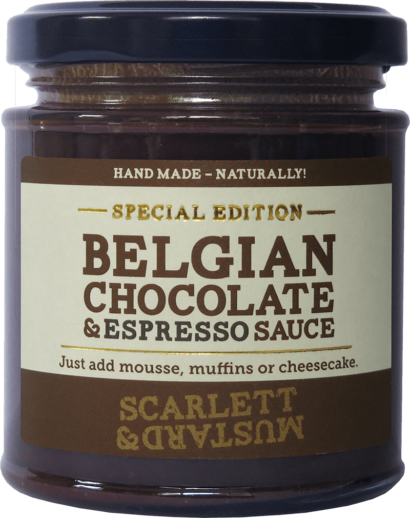 A 200g jar of Belgian Chocolate & Espresso Sauce