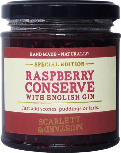 A 200g jar of Raspberry Conserve with English Gin